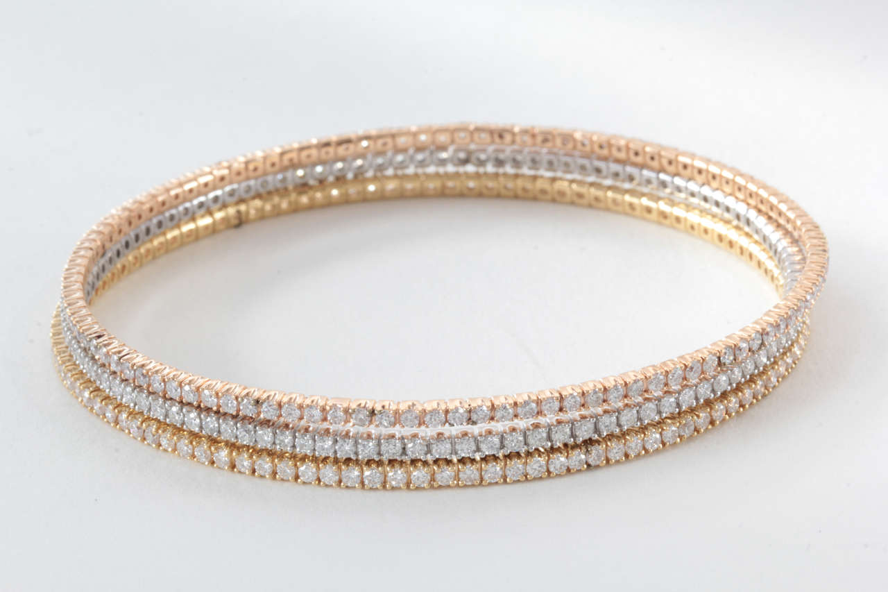 Trio Of White Yellow And Rose Gold Slip On Diamond Bangles
