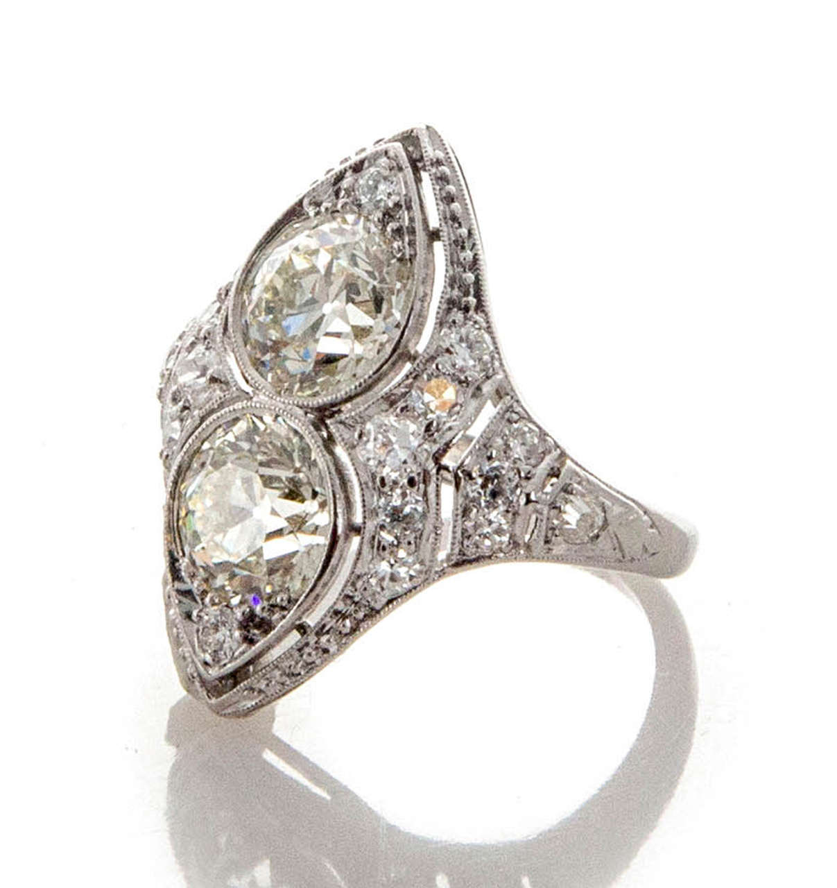 deco unique european cut platinum ring