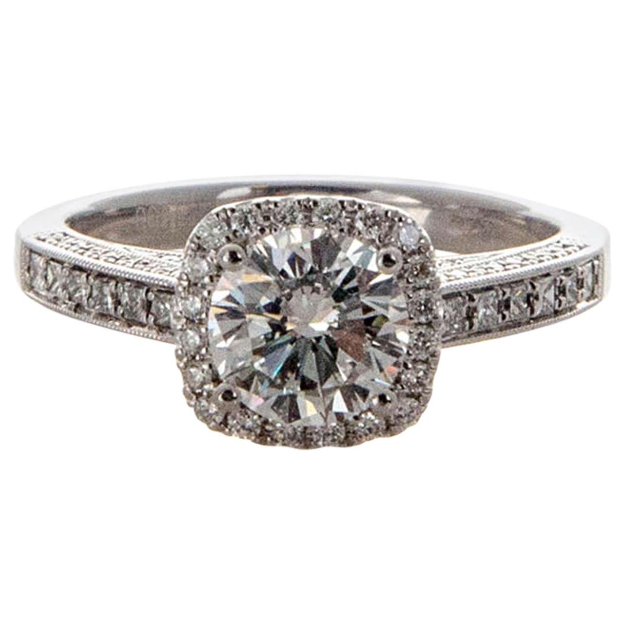 Diamond Rings For Sale Cheap: Sylvie Cushion Halo Diamond Platinum Ring For Sale At 1stdibs