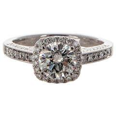 Sylvie Cushion Halo Diamond Platinum Ring