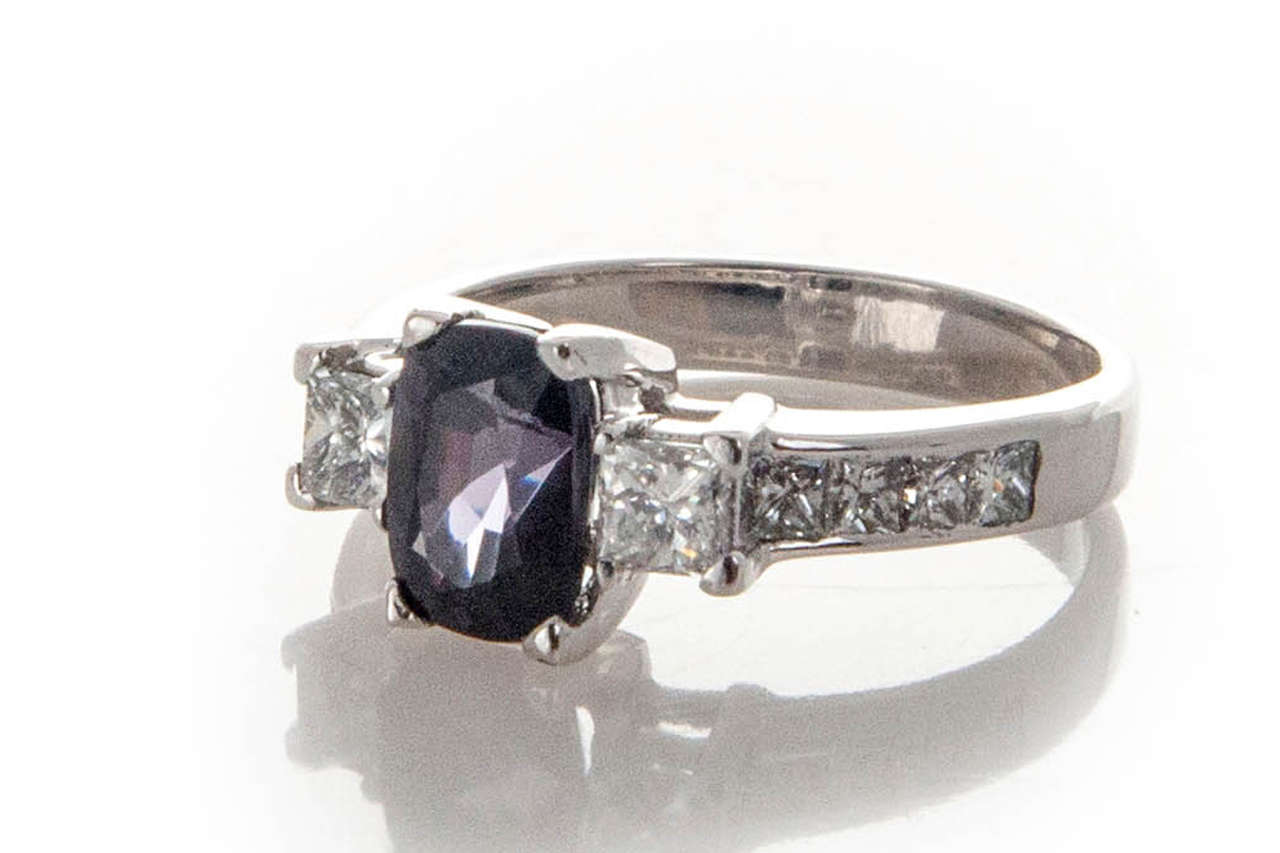 Natural Purple Cushion Spinel Diamond White Gold Platinum Engagement Ring 2