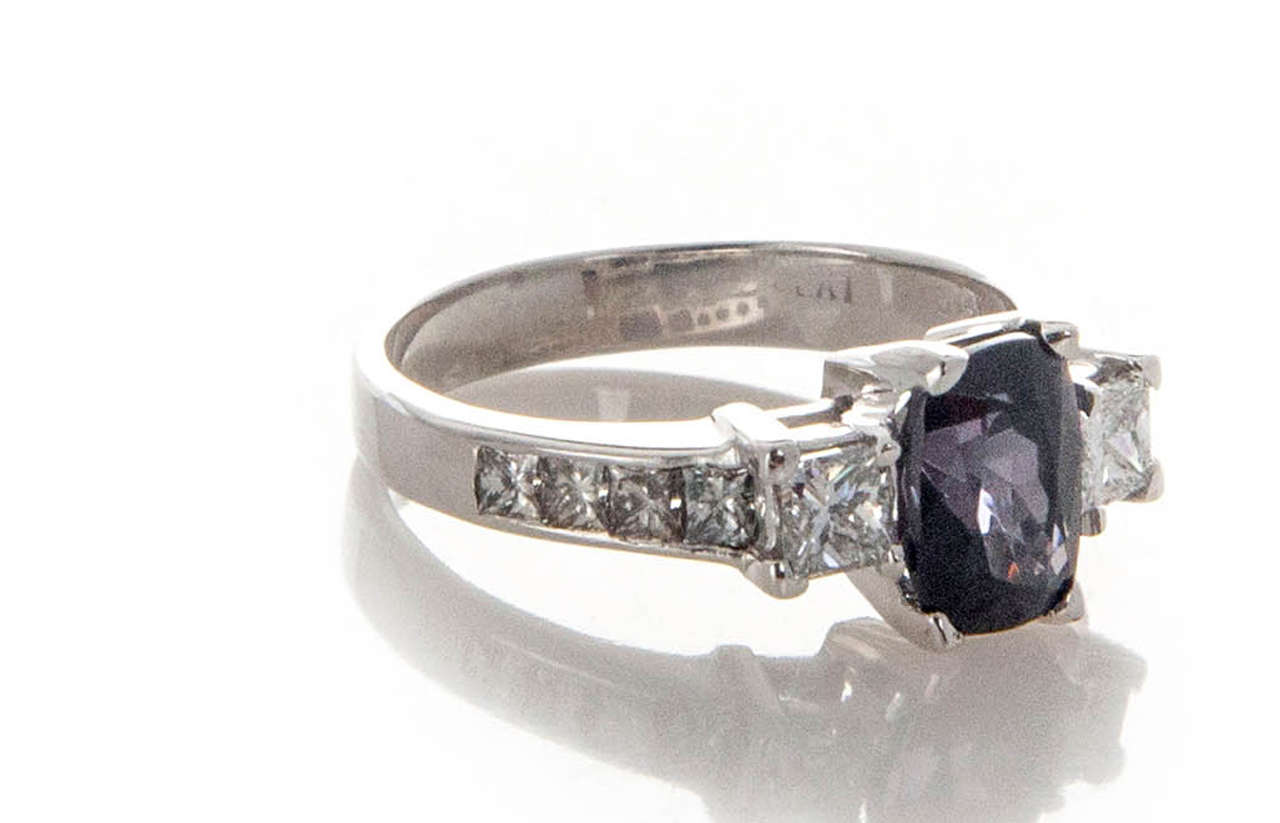 Natural Purple Cushion Spinel Diamond White Gold Platinum Engagement Ring 3