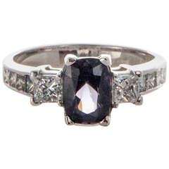Natural Purple Cushion Spinel Diamond White Gold Platinum Engagement Ring