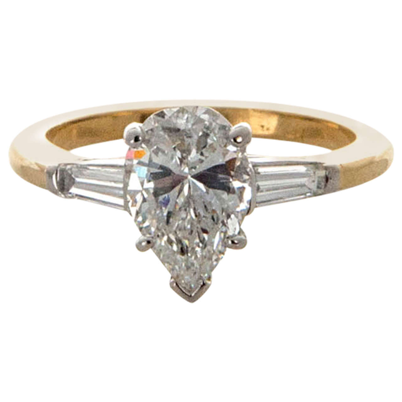 Oscar Heyman Pear Shaped Diamond Yellow Gold Platinum Ring 1