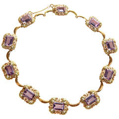 Retro Art Deco Amethyst Pink Green Gold Necklace