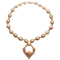Important Natural Pink Orange Coral Diamond Necklace Pendant
