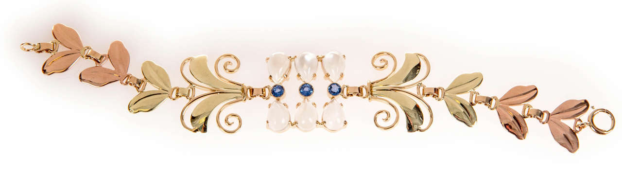 Art Deco Tiffany & Co. Montana Sapphire Moonstone Gold Bracelet For Sale