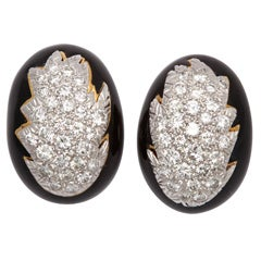 DAVID WEBB Black Enamel And Diamond Leaf Earrings