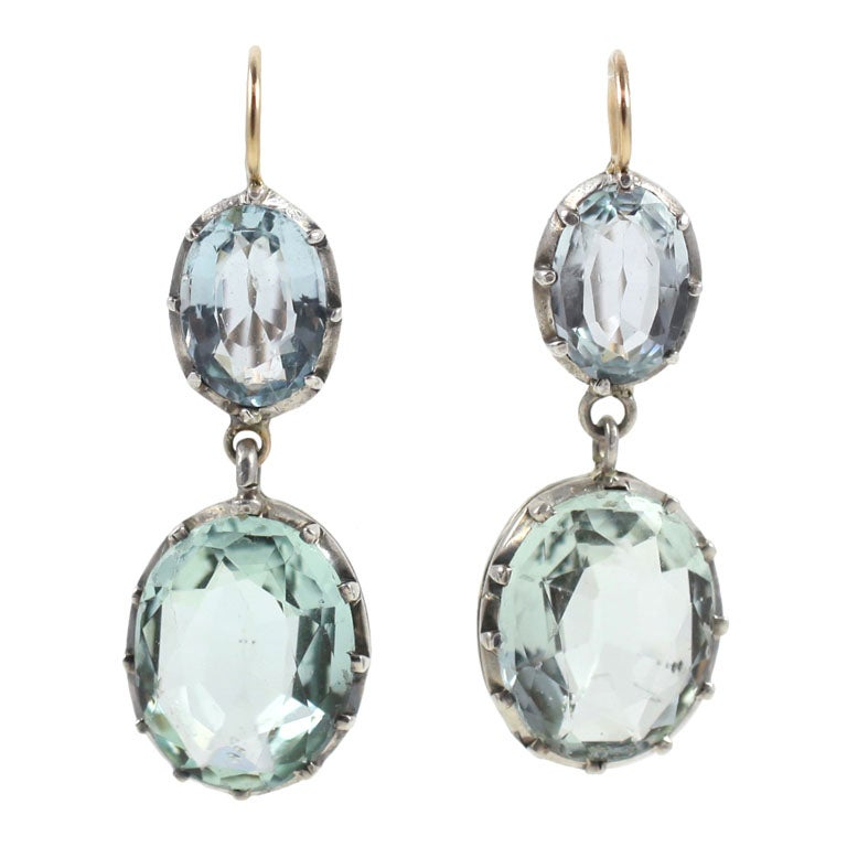 Antique sterling silver and blue paste georgian earrings for Antique jewelry stores nyc