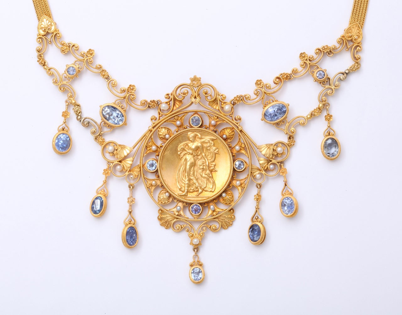 Antique 19th Century Italian Renaissance Pearl Sapphire Gold Necklace At 1stdibs