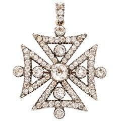 Georgian Maltese Rock Crystal Cross in Sterling