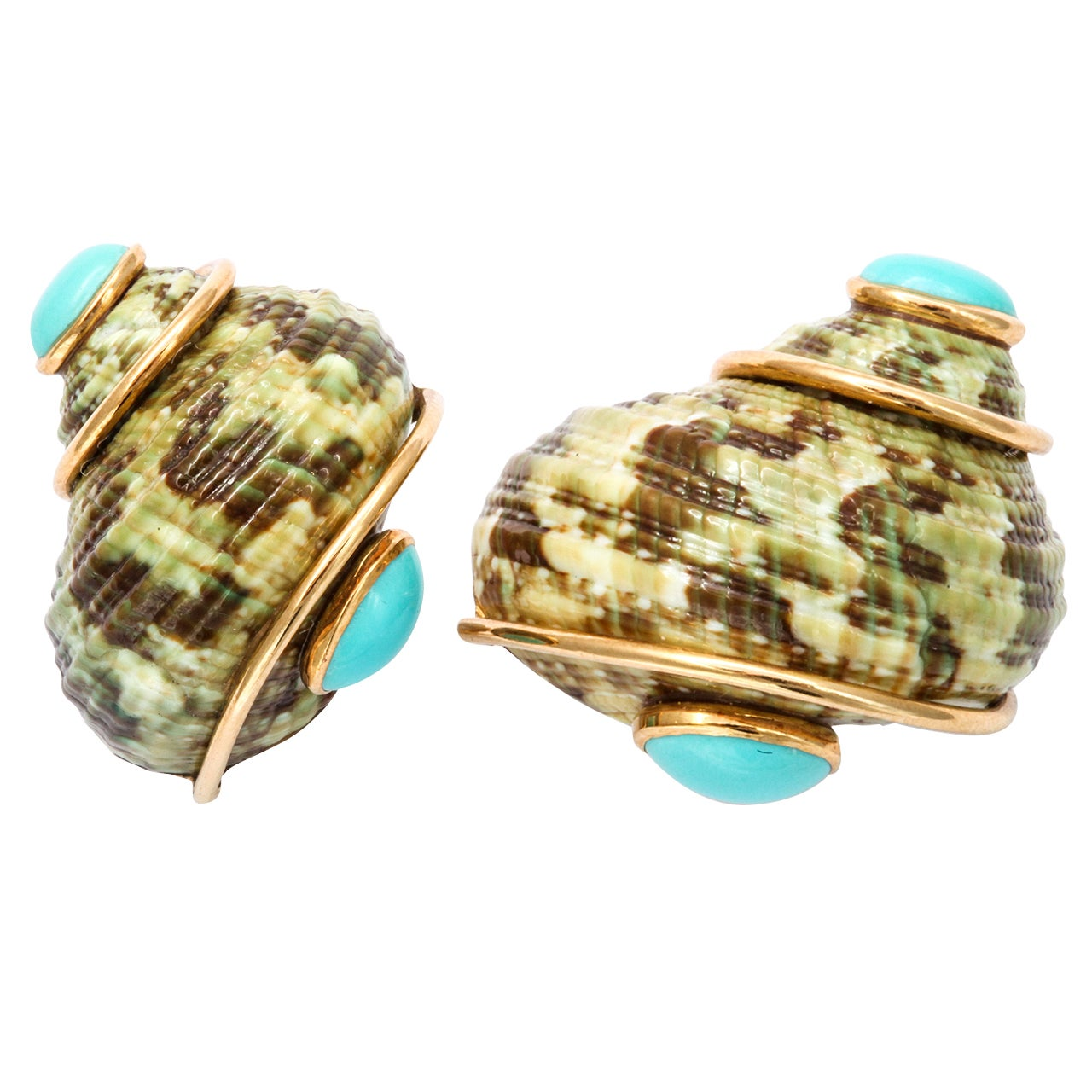 turquoise shell earrings by seaman schepps at 1stdibs