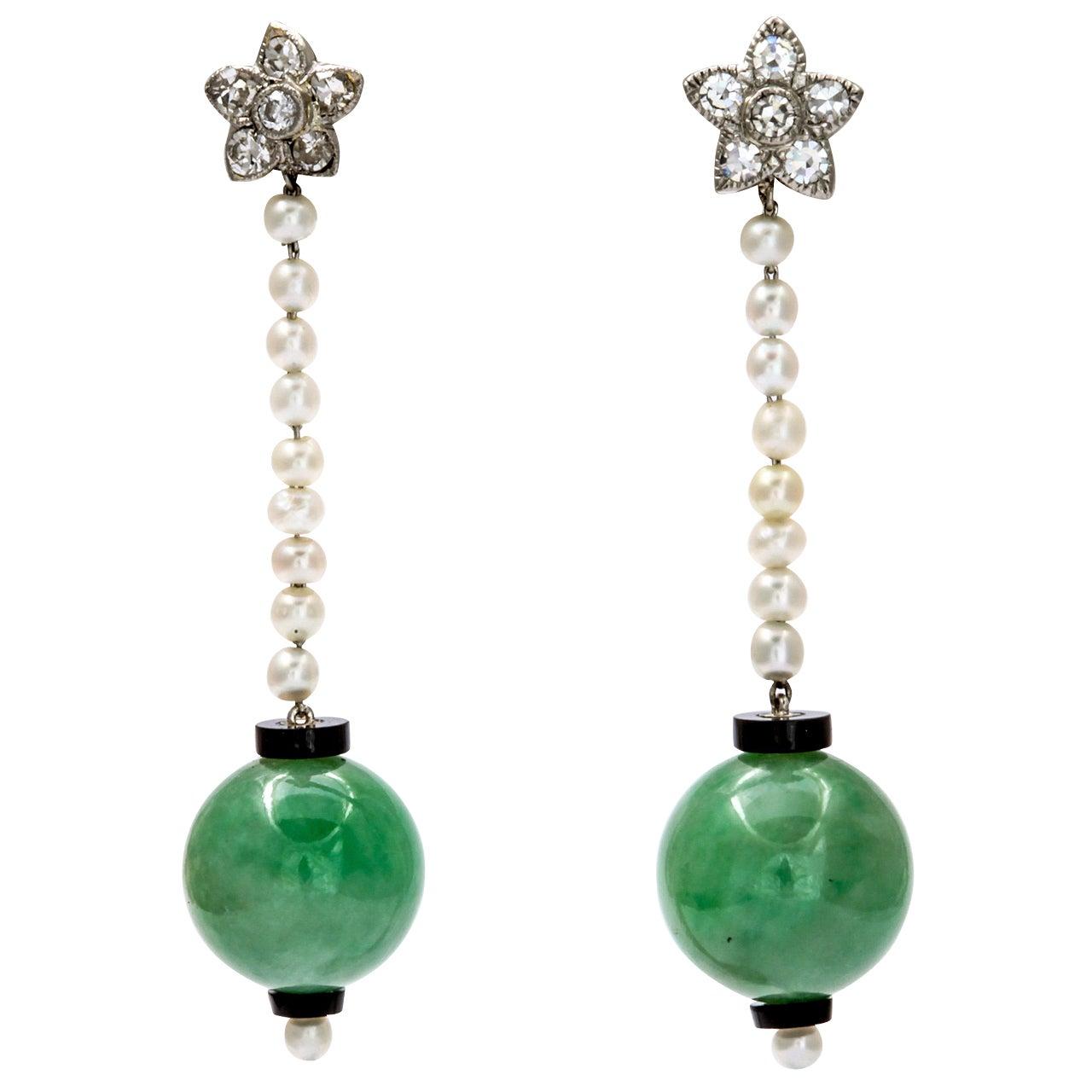 Voluptuous Art Deco Jade Earrings