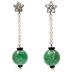 Antique Art Deco Jade Earrings