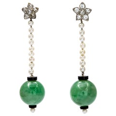 Voluptuous Art Deco Jade Earrings