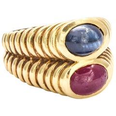 Ruby Sapphire gold Double Band Ring