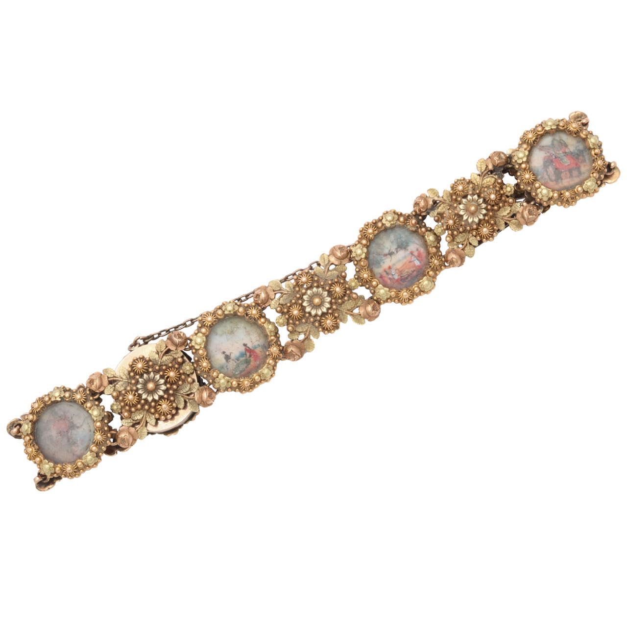 Early Colonial Painted Miniature Gold Filigree Bracelet For