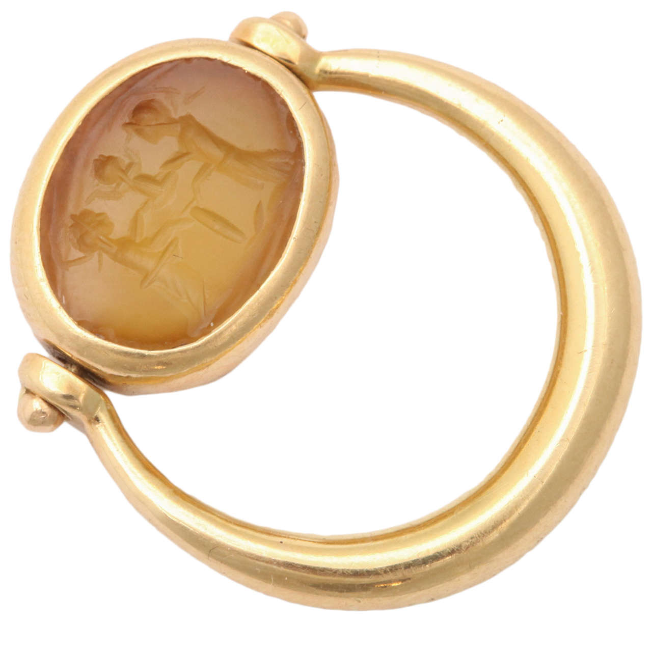 Bulgari  Pinky Ring set with Ancient Intaglio For Sale