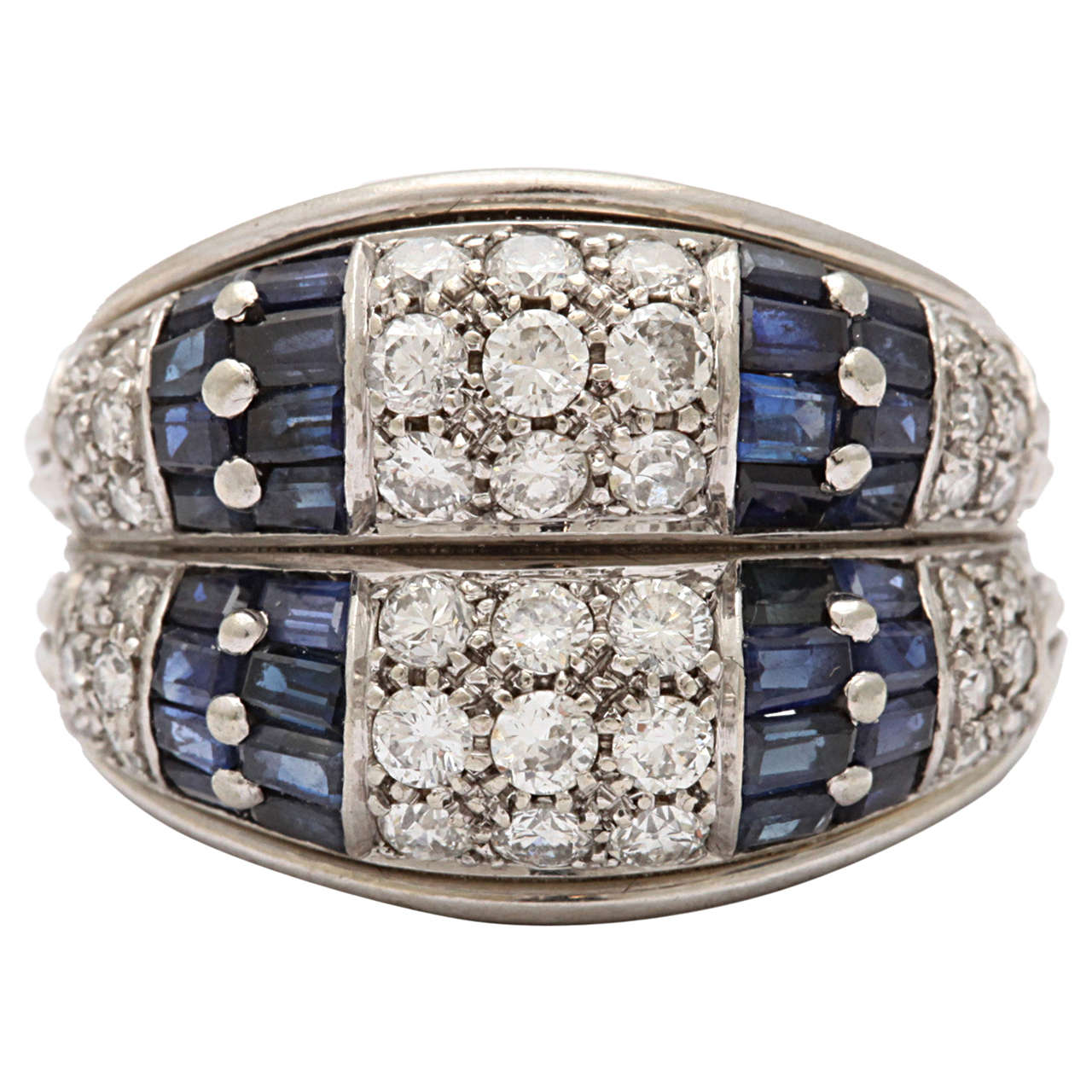 Sapphire Diamond White Gold Double Band Ring