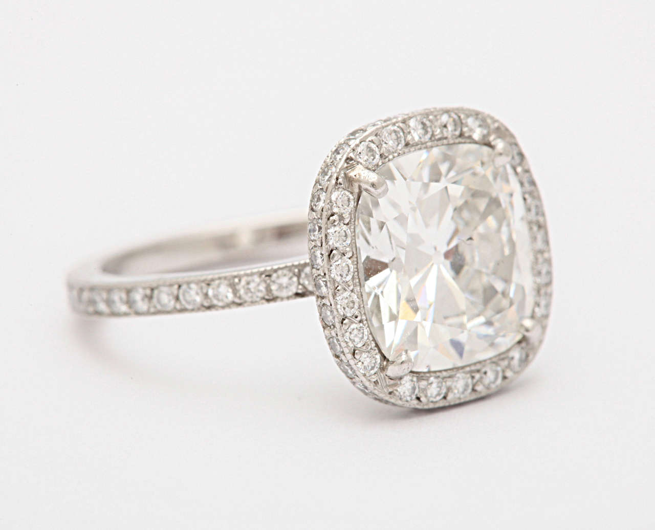 Cartier Cushion Shaped Diamond Engagement Ring At 1stdibs