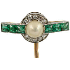 French Natural Pearl Emerald Diamond Gold Tie Pin