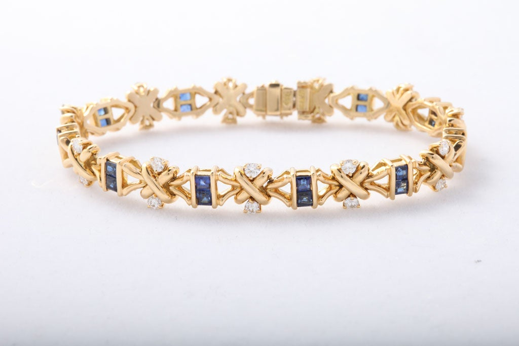 18kt Yellow Gold Diamond and Sapphire Hammerman Bros Bracelet at