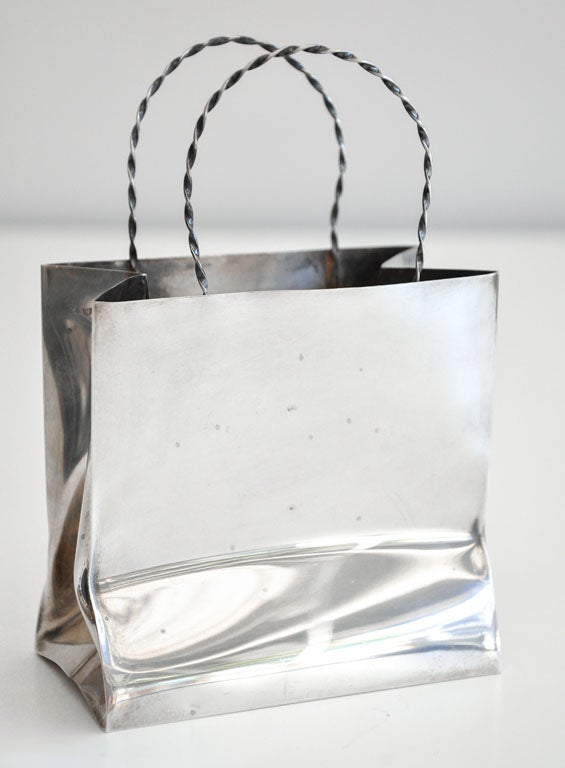 Vintage Cartier Sterling Silver Miniature Gift Bag image 5