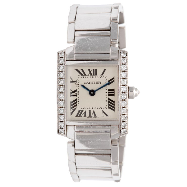 CARTIER White Gold and Diamond Bracelet Watch For Sale at ...