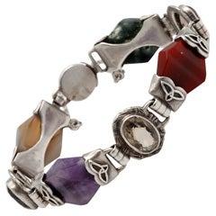 Sterling Silver-Mounted Scottish Agate Bracelet