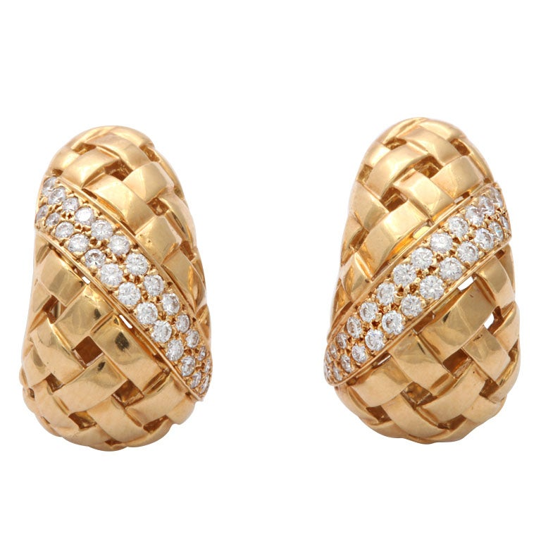 Basket Weaving Jewelry : Tiffany diamond basket weave earrings at stdibs
