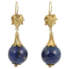 Stylish Lapis Lazuli Rams' Heads Drop Earrings