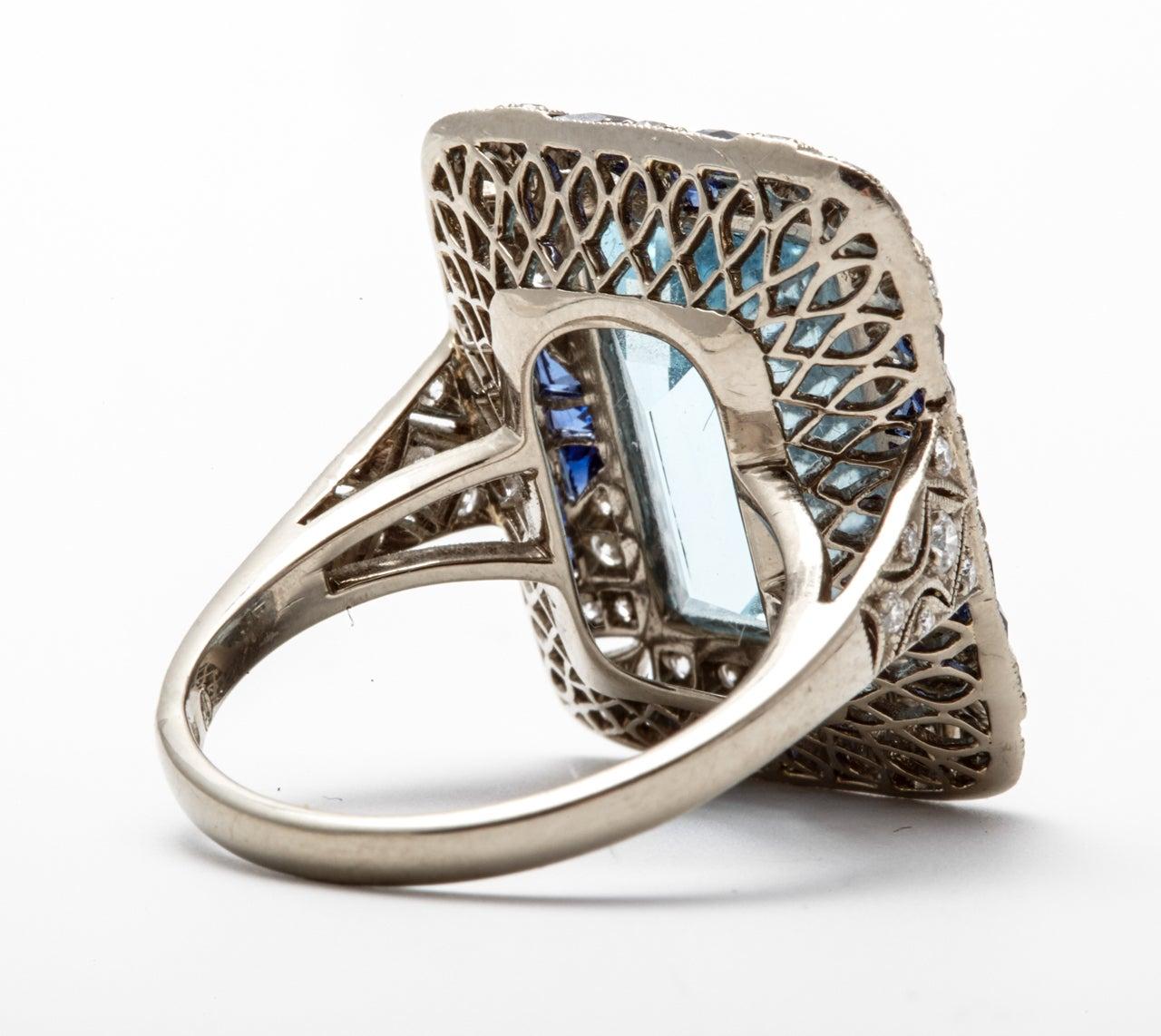 Aquamarine sapphire diamond white gold filigree dress ring at 1stdibs