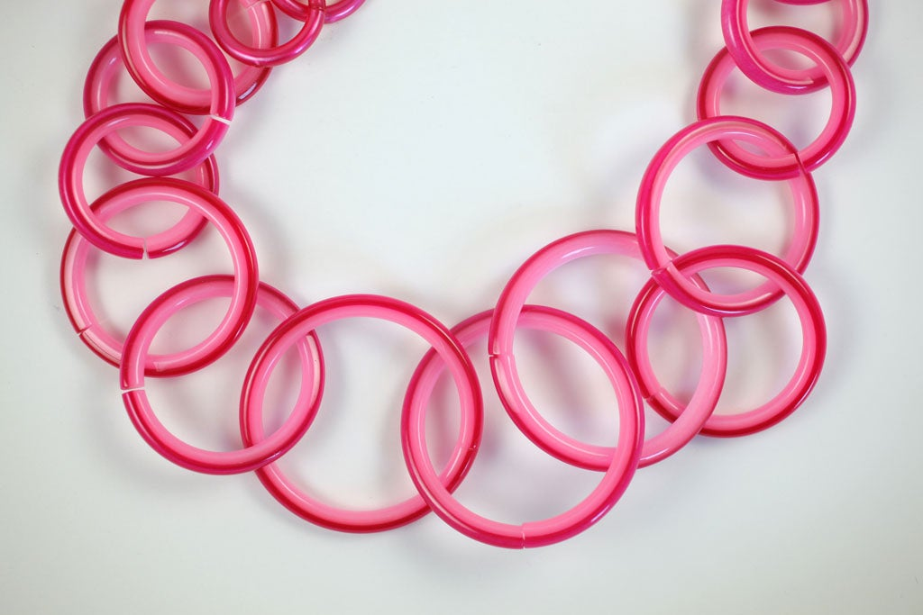 Mod Pink Two Tone Loop Necklace 4