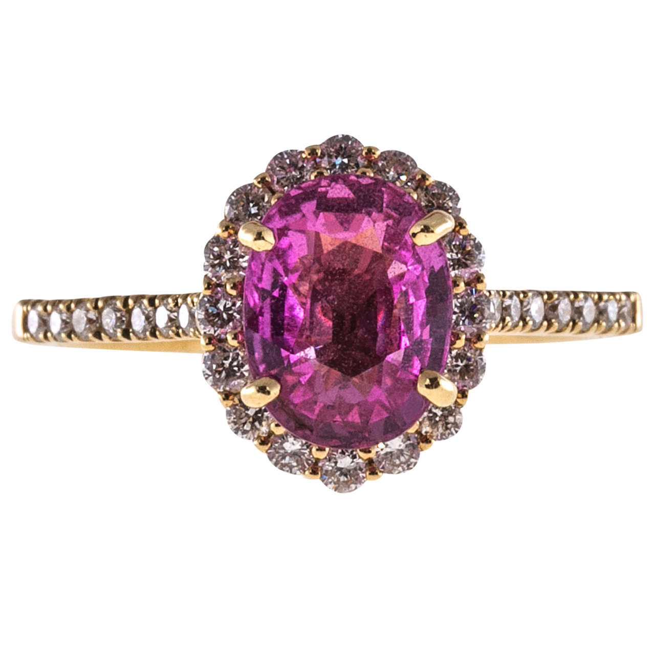 Pink Sapphire Diamond Yellow Gold Halo Ring For Sale at ...