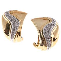Solelar Diamond Yellow Gold Swirl Earrings