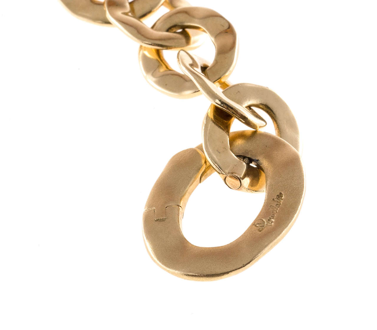 Pomellato Graduated Oval Link Yellow Gold Necklace For Sale 1
