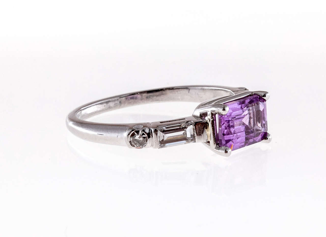 Art Deco Natural Purple Pink Emerald Cut Sapphire Diamond Platinum Ring For Sale