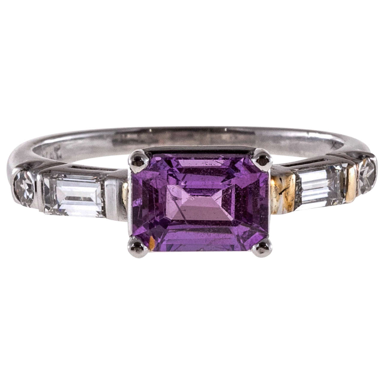 Natural Purple Pink Emerald Cut Sapphire Diamond Platinum Ring
