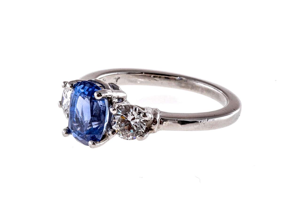 Cornflower Natural Blue Sapphire Diamond Three Stone Engagement Ring at 1stdibs