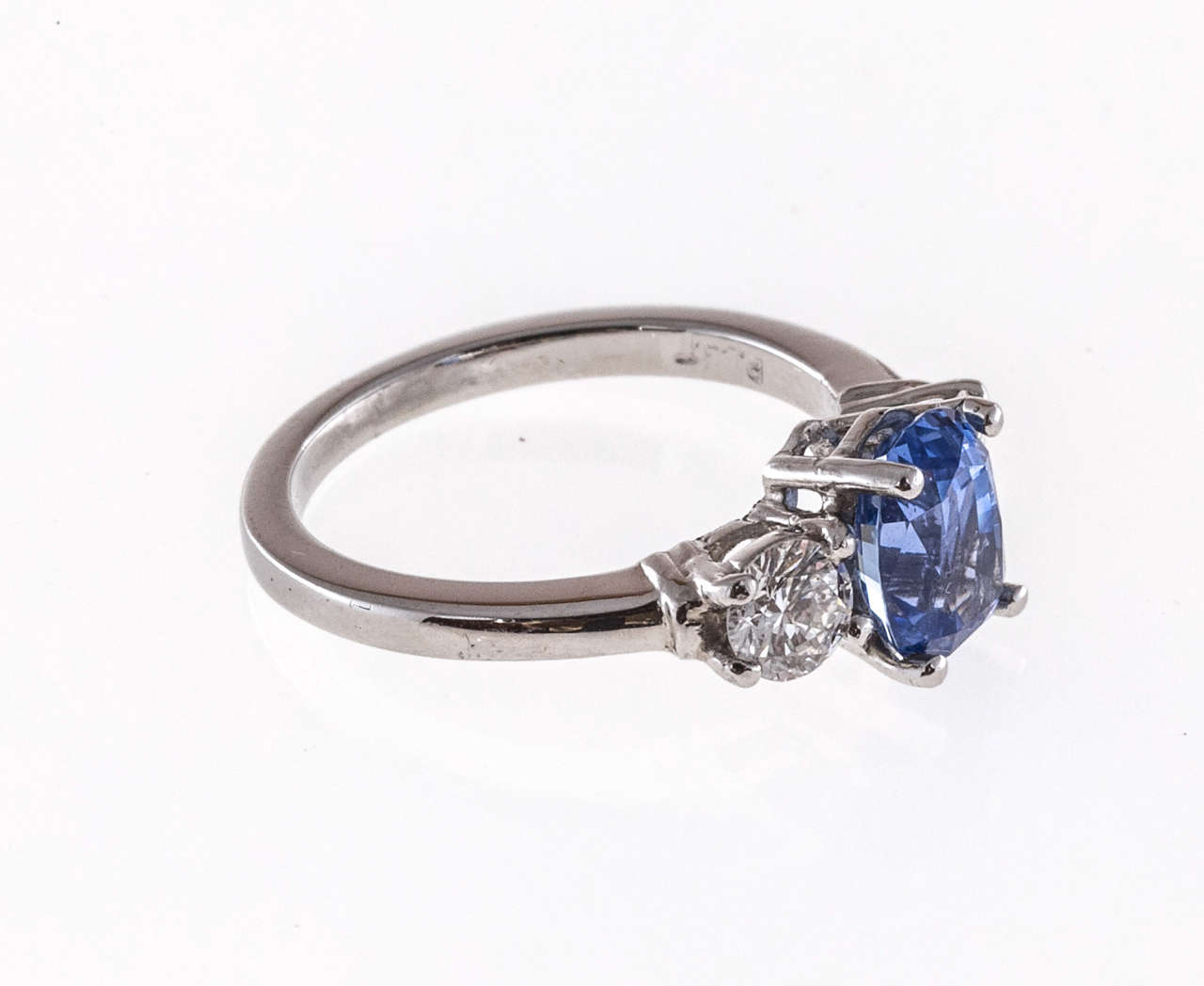 Cornflower Natural Blue Sapphire Diamond Three Stone Engagement Ring at 1stdibs