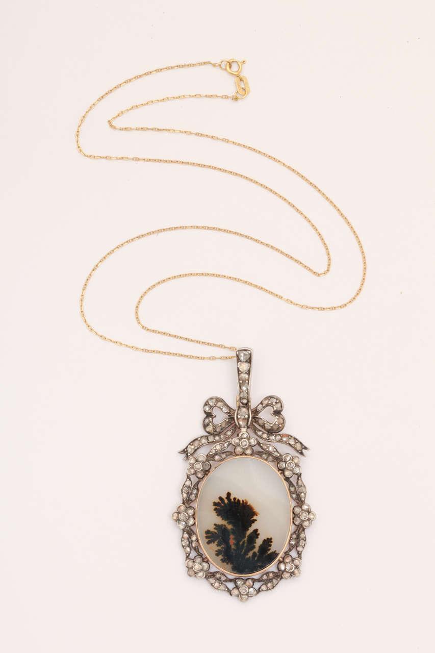 Think of Me: A Victorian Moss Landscape Agate Diamond Pendant 2