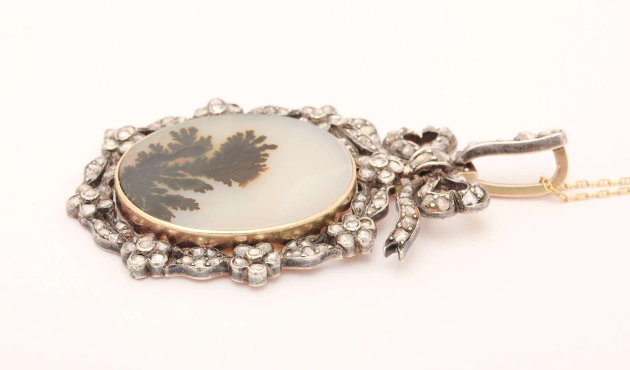 Think of Me, a Victorian Moss Landscape Agate Diamond Pendant For Sale 1