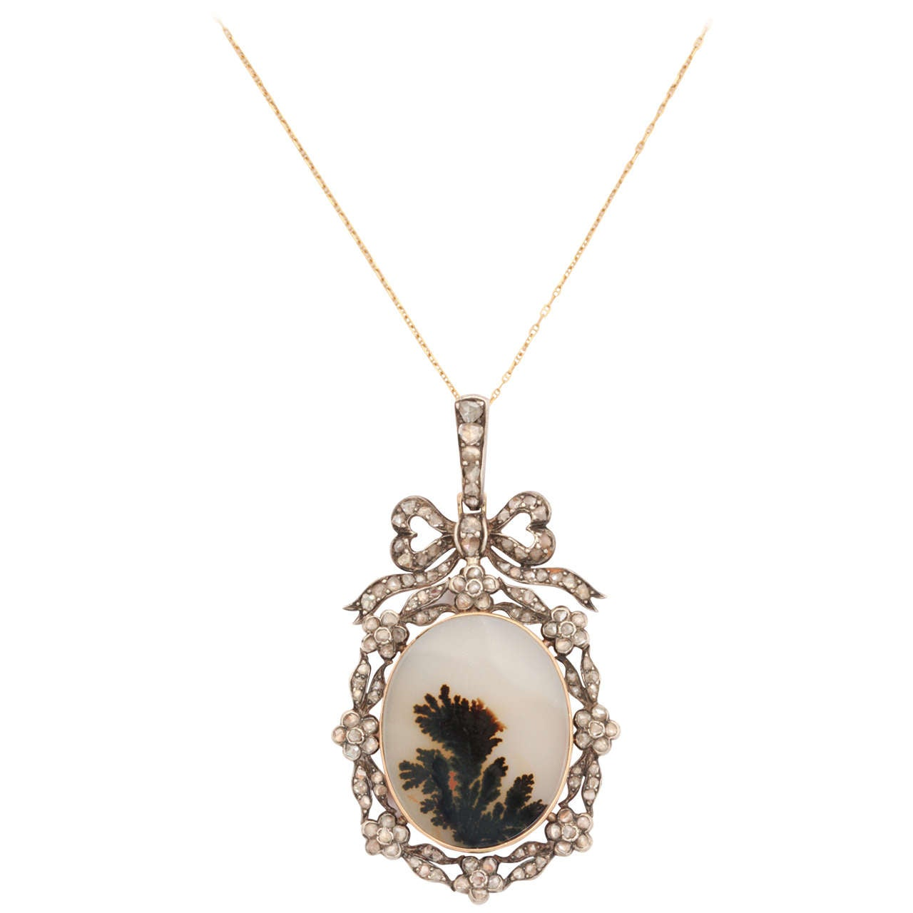 Think of Me, a Victorian Moss Landscape Agate Diamond Pendant For Sale