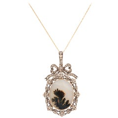 Think of Me, a Victorian Moss Landscape Agate Diamond Pendant
