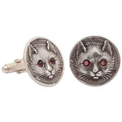 Sterling Silver Repousse Cat Cufflinks