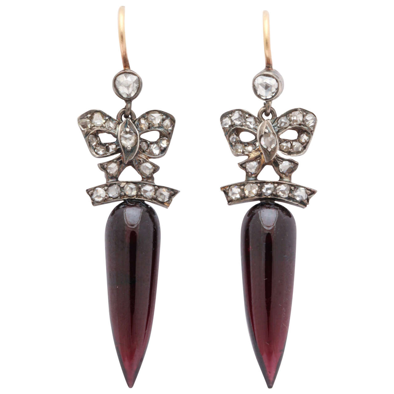 Antique Victorian Wine Red Garnet Diamond Original Case Eardrops