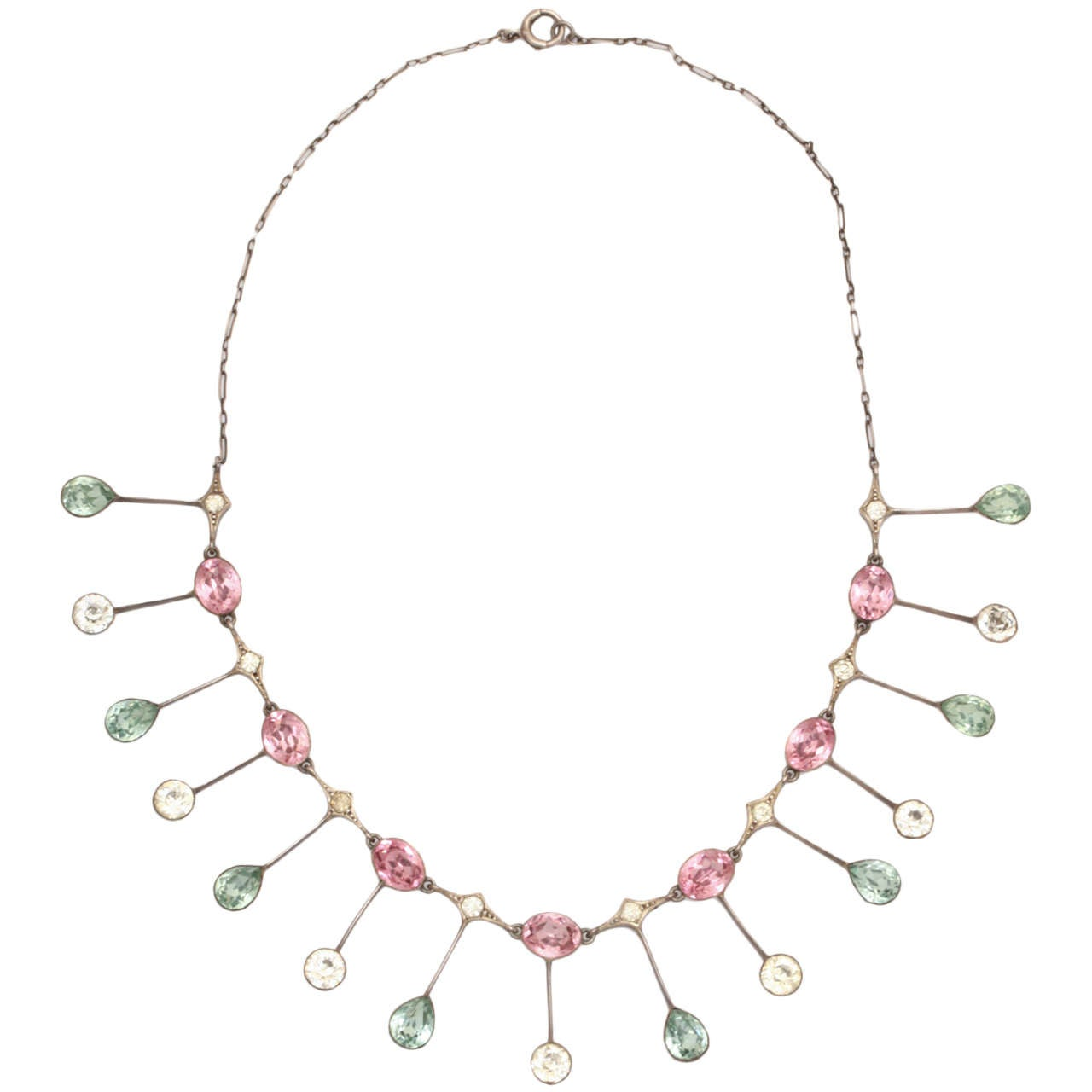 Striking Color Display in an Edwardian Paste Necklace 1