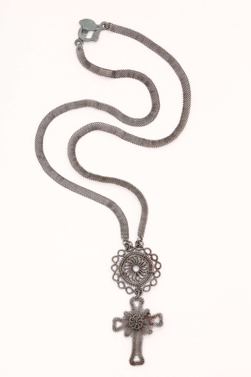 Silesian Wirework Iron Cross and Medallion Necklacec .1800 For Sale ...