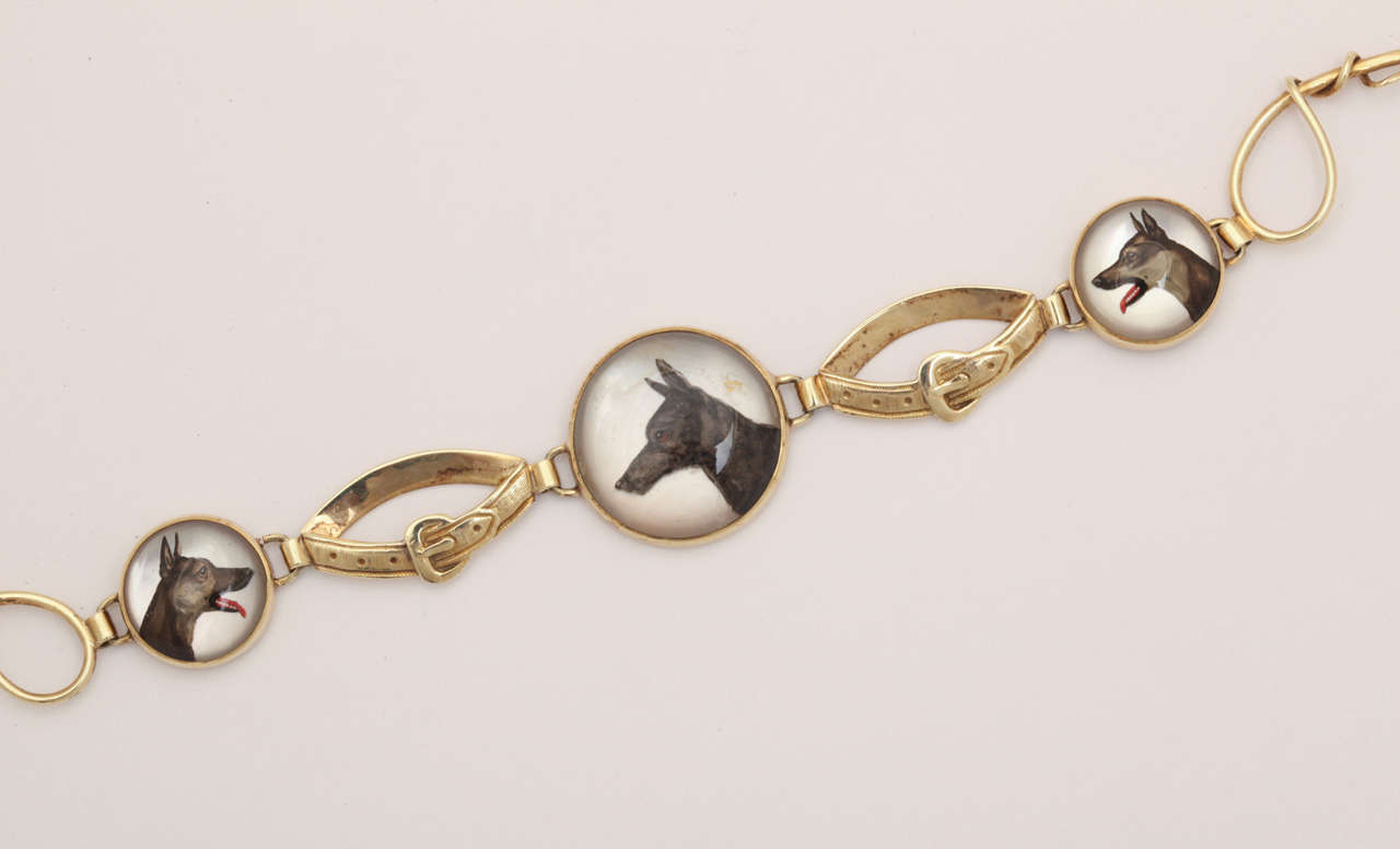 Hunting Dog Reverse Crystal Intaglio Bracelet In Excellent Condition For Sale In Stamford, CT