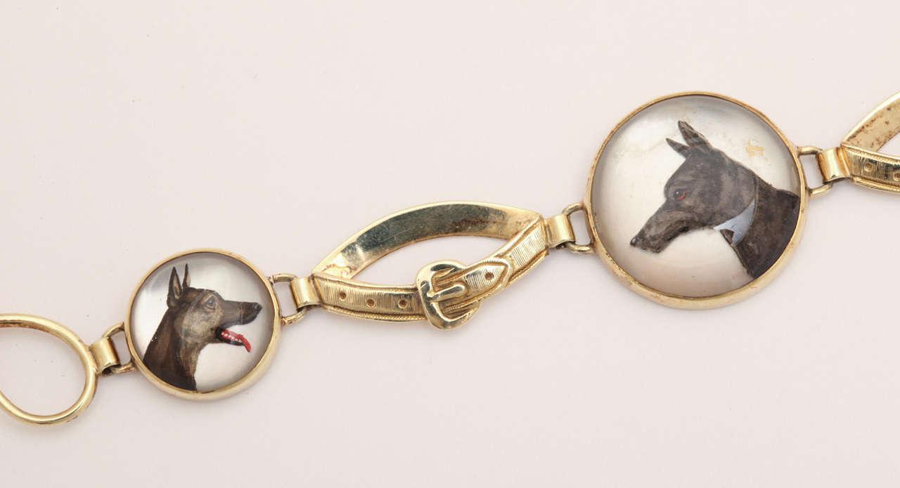 Women's Hunting Dog Reverse Crystal Intaglio Bracelet For Sale
